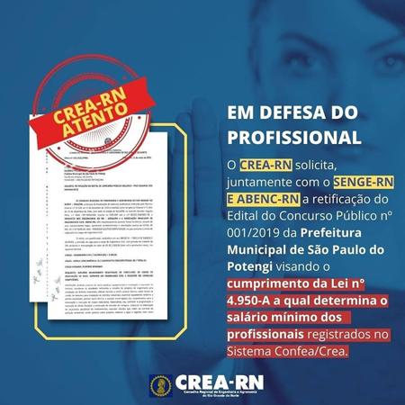 O CREA-RN, SENGE-RN E ABENC-RN pedem a retificação do Edital do Concurso Público da Prefeitura de São Paulo do Potengi