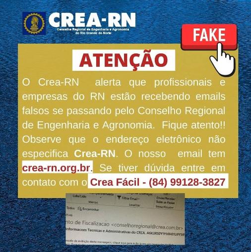 Crea-RN alerta sobre emails falsos enviados aos profissionais e empresas do RN