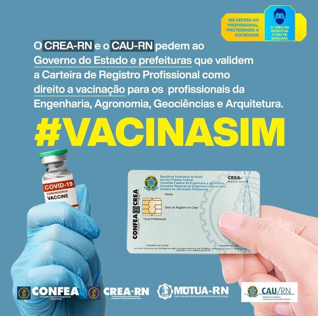 CREA-RN e CAU/RN pedem a validação da carteira profissional para dar direito a vacinação da COVID-19