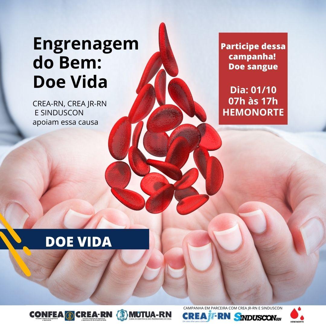 CREA-RN, CREA JR-RN E SINDUCON LANÇAM CAMPANHA ENGRENAGEM DO BEM: DOE VIDA